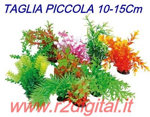 PIANTINA ARTIFICIALE 5Pz ACQUARIO 10-15cm PICCOLA PIANTA PLASTIC